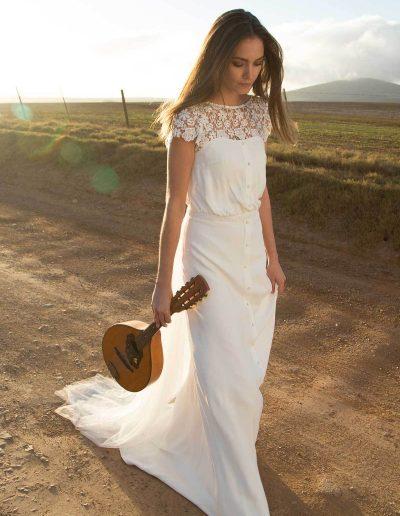 Robe de mariée bohème corsage blousant Diva Toulouse