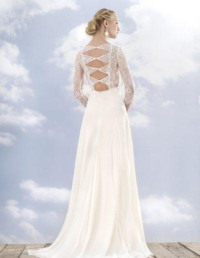 robe de mariée crêpe manche dentelle Diva Toulouse
