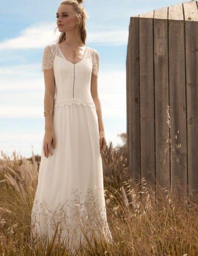 robe de mariée taille basse mousseline bohème Diva Toulouse